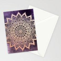 GOLD NIGHTS MANDALA IN PURPLE Stationery Cards