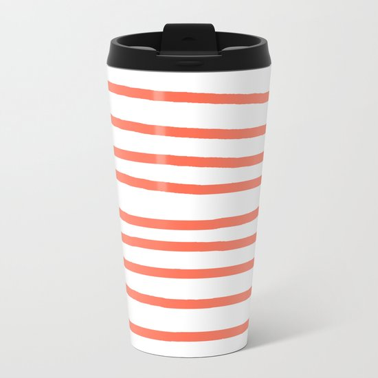 Simply Drawn Stripes in Deep Coral Metal Travel Mug