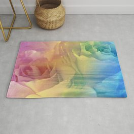 Rainbow Rose Water Abstract Rug
