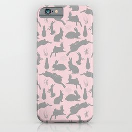 Rabbit Pattern | Rabbit Silhouettes | Bunny Rabbits | Bunnies | Hares | Pink and Grey | iPhone Case