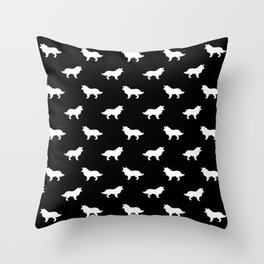Border Collie black and white minimal silhouette dog silhouettes dog breeds pattern Throw Pillow