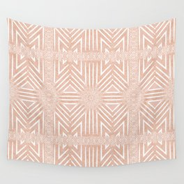 Nappy Faux Velvet Framed Wicker Repeat in Peach Wall Tapestry