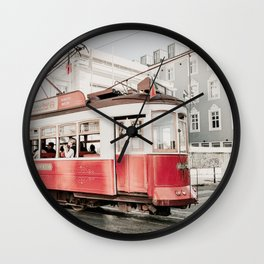 Lisbon Cable Car Photo | Lisbon Photography | Lisbon Red Tram Wall Clock
