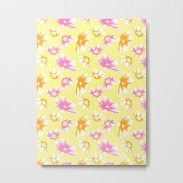 Bright Yellow Watercolor-Style Cosmos Floral Metal Print