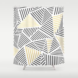 A Linear White Gold New Shower Curtain