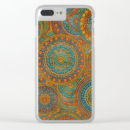 Dot Art Circles Orange and Blues Clear iPhone Case