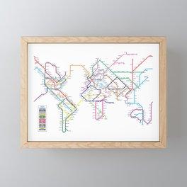 World Metro Subway Map Framed Mini Art Print