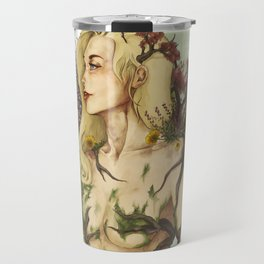 """Watercolor Painting of Picture """"Profile Woman"""" Travel Mug"""