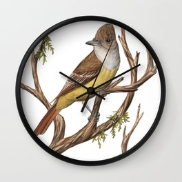 Great Crested Flycatcher (Myiarchus crinitus) Wall Clock