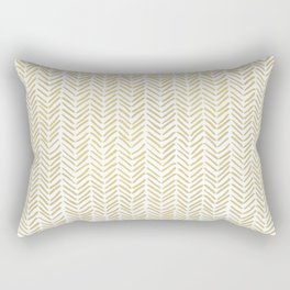 Handpainted Chevron Pattern - Gold and white Rectangular Pillow