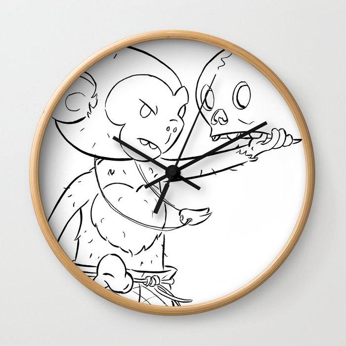 Monkey Pirate - ink Wall Clock