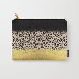 Wilder - black gold foil cheetah print animal pattern spots dots bold modern design sparkle glitter Carry-All Pouch