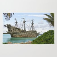 pirate ship Area & Throw Rugs featuring Pirate ship in the Caribbean by Daylight Magic: Images by Jeff