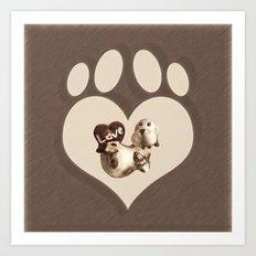 Puppy Love - Sketch Style Art Print
