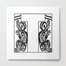 Northwest Pacific Coast American Native Totem White Letter T Metal Print