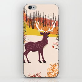 Stag in the wilderness vintage illustration iPhone Skin