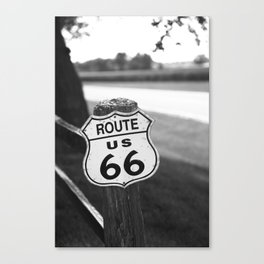 Route 66 Shield on a Fence Post 2012 Canvas Print