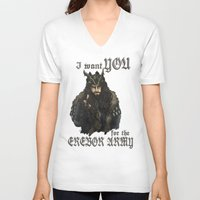 thorin V-neck T-shirts featuring Uncle Thorin by AlyTheKitten
