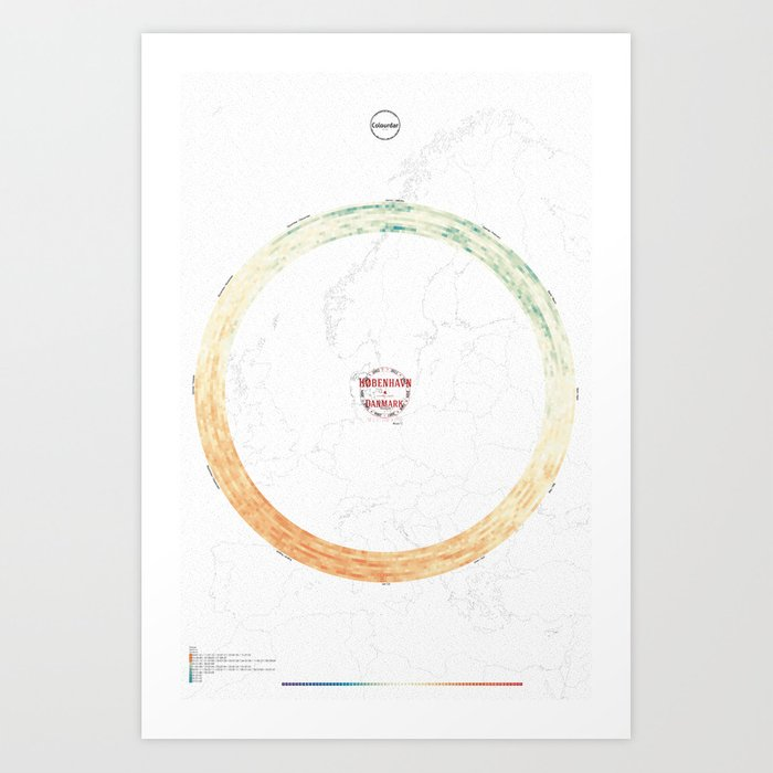 Colourdar Copenhagen: Mean ºC 2002-2011 / Weather calendar of cities over time. Art Print