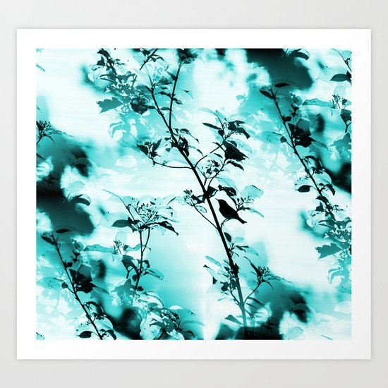 Silhouette of songbird on a branch in turquoise variation  Art Print