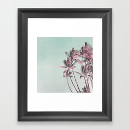 Tropical Palm Trees In Surreal Pink Framed Art Print
