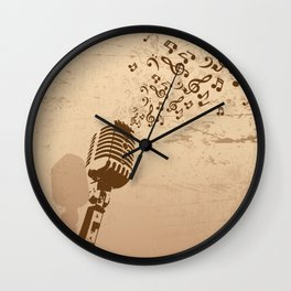 Retro microphone with grunge music concept Wall Clock