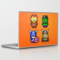 superhero Laptop & iPad Skins featuring Superhero Gathering by Daizy Jain