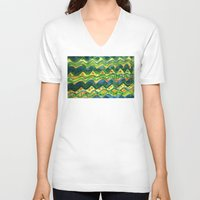 green pattern V-neck T-shirts featuring Green pattern by Nato Gomes