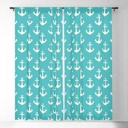 Anchors (White & Teal Pattern) Blackout Curtain