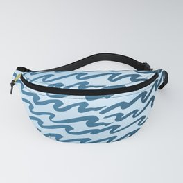 Abstract Metallic Sea Waves Saltwater Taffy Teal on Blue Raspberry Fanny Pack