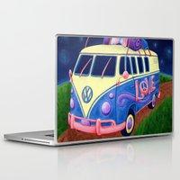 hippie Laptop & iPad Skins featuring Hippie Van by whiterabbitart
