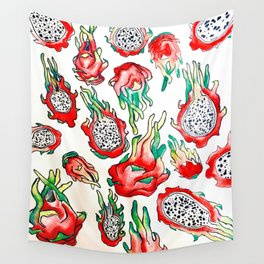 It's Raining Dragonfruit - RED EDITION Wall Tapestry