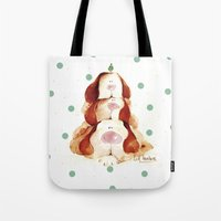 puppies Tote Bags featuring Puppies by LolMalone