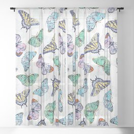 Colorful Butterflies Watercolor Painting Sheer Curtain