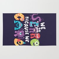 risa rodil Area & Throw Rugs featuring We Scare Because We Care by Risa Rodil