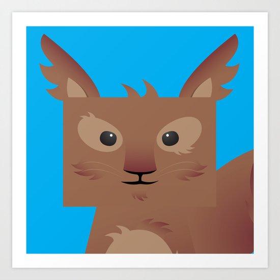 Furry Squirrel Art Print