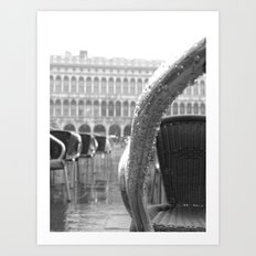 St Mark's Square after rain in black and white Art Print