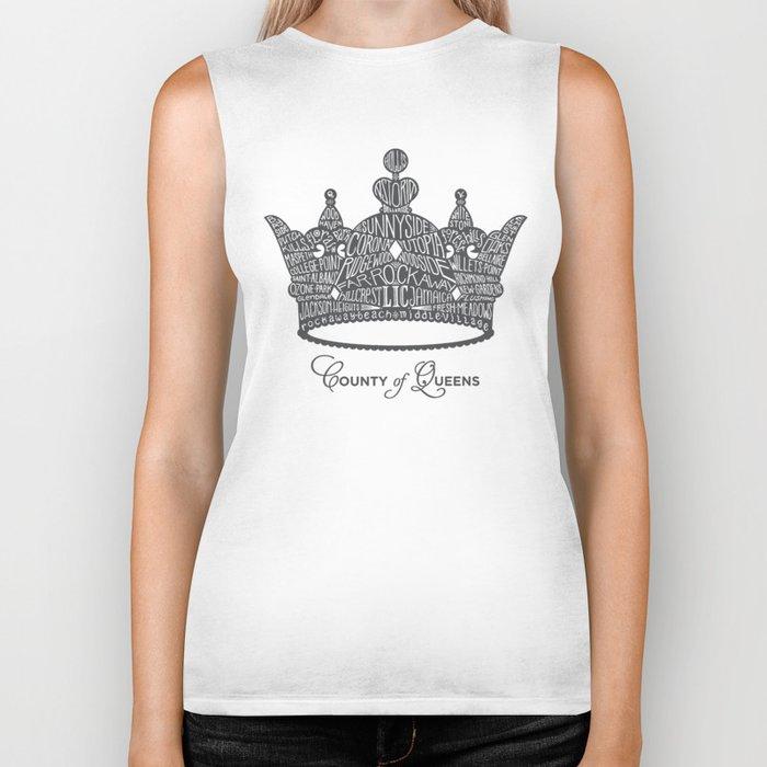 County of Queens   NYC Borough Crown (GREY) Biker Tank