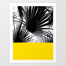 Black and White Tropical Palm Leaves on Sunny Yellow Art Print
