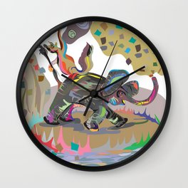 """Elephant Cha Cha"" Paulette Lust's Original, Contemporary, Whimsical, Colorful Art  Wall Clock"