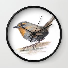 Chucao Bird Watercolor Animal Portrait Wall Clock