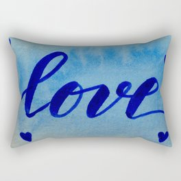 Valentine's Day Watercolor Love - blue Rectangular Pillow