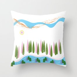Forest Walk Along the River Rhine Throw Pillow