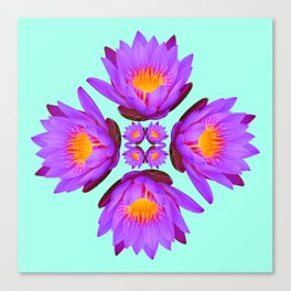 Purple Lily Flower - On Aqua Blue Canvas Print