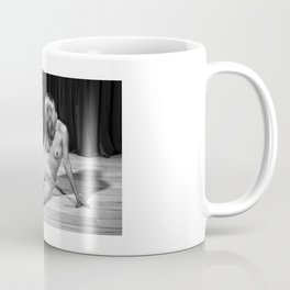 Nude woman sitting on the floor and image in black and white Coffee Mug