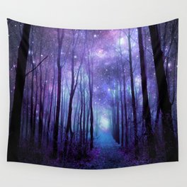 Fantasy Forest Path Icy Violet Blue Wall Tapestry