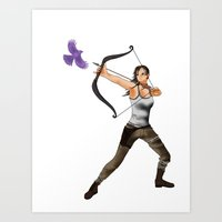 lara croft Art Prints featuring Lara Croft  by Larkee Beatz