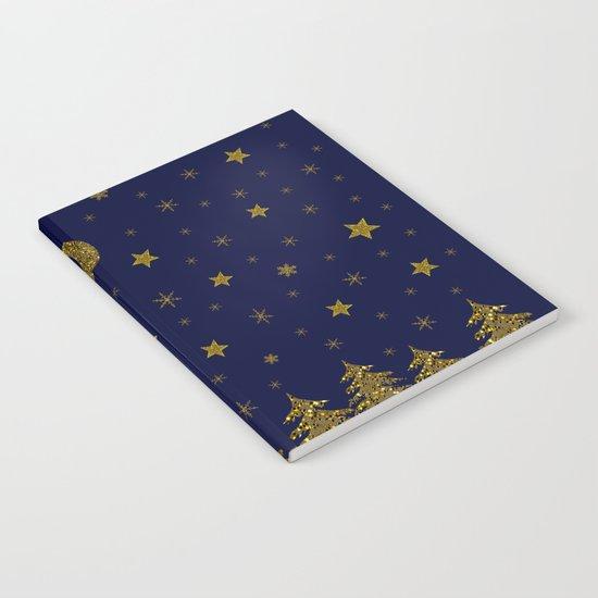 Sparkly Christmas tree, moon, stars Notebook