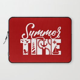 Summer TIME Nautical Solid Red, Seagull, Lounge Chair, Lighthouse, Anchor, Rope, Compass, Sail Boat Laptop Sleeve