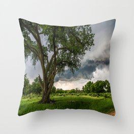 Big Tree - Tall Cottonwood and Passing Storm in Texas Throw Pillow